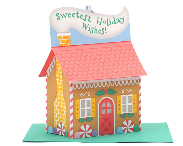 3D Gingerbread House Ornament Card