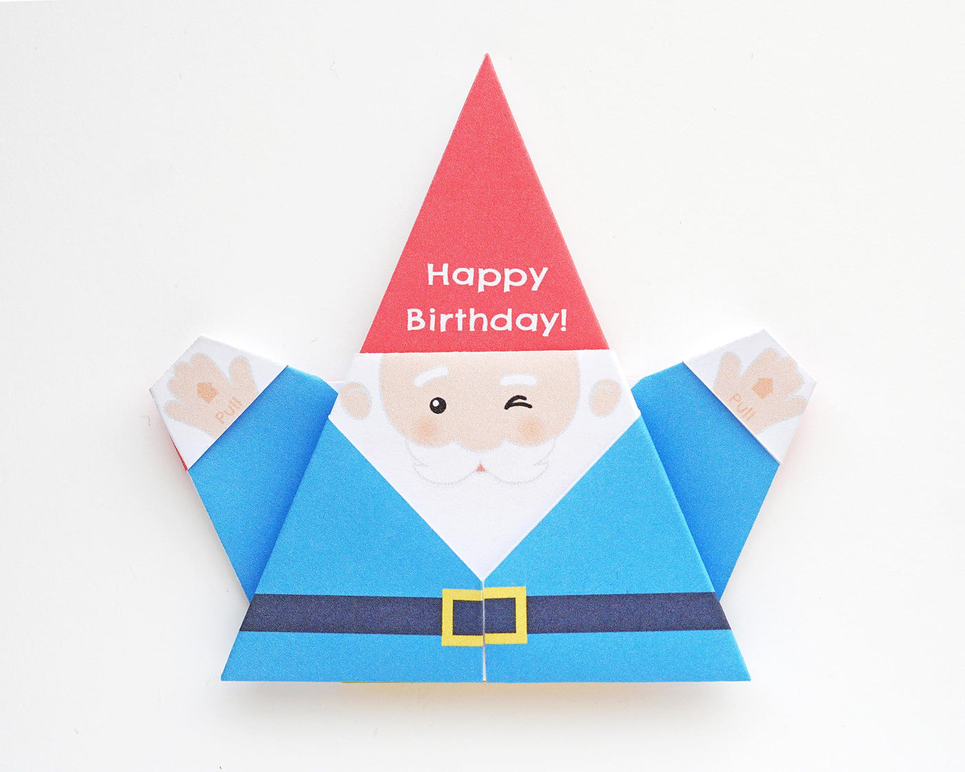 Printable DIY Origami Gnome Card - Happy Birthday Design