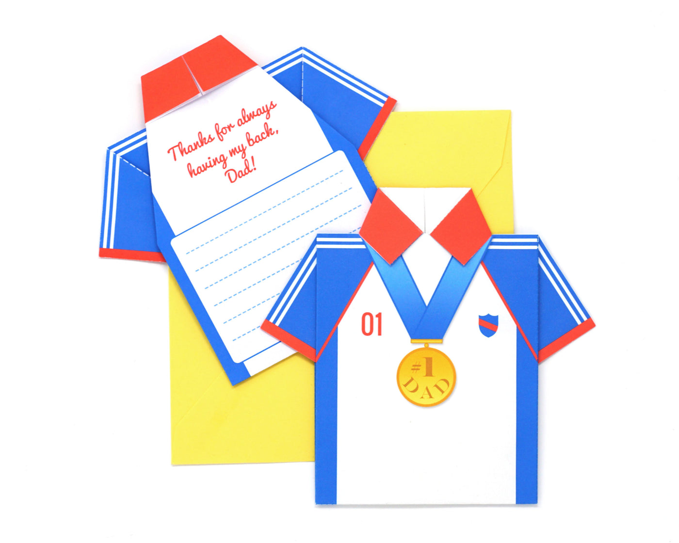 DIY Father's Day Origami Shirt Card Kit - Olympic Hero Design