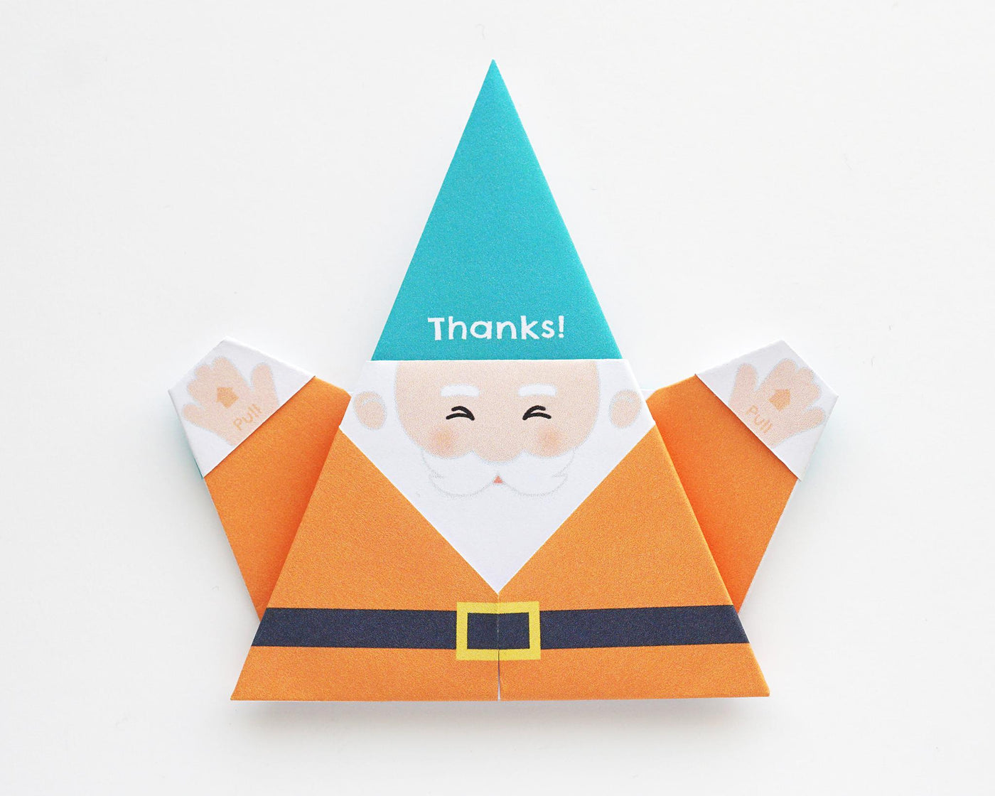 Printable DIY Origami Gnome Card - Thank You Design