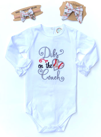 Dibs on the Coach shirt, coach's kid, tball sister, baseball sister