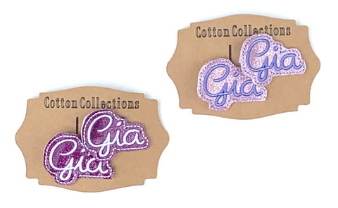 Name clip, name felties, custom name feltie