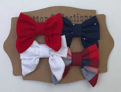 Small fabric bow, Fourth of July set, red white and blue