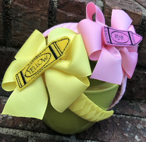 Back to school solid crayon headband
