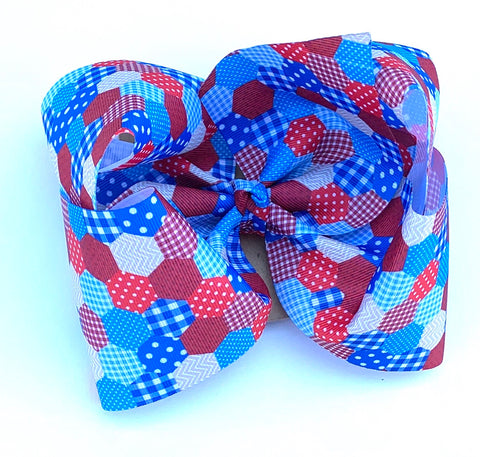 Americana patchwork large bow