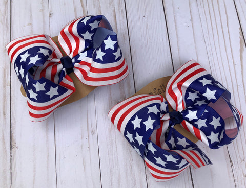 American flag hair bow, patriotic hair bow, flag bow