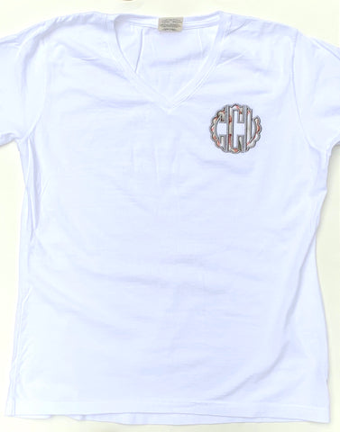 Baseball monogram Vneck Tee for women