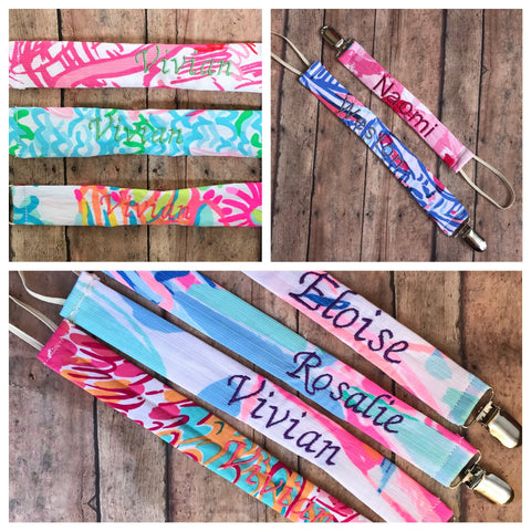 Lilly personalized pacifier clip