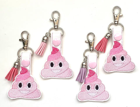 Poop key chain, poop emoji, zipper pull