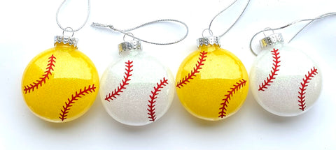 Glitter Baseball softball ornament