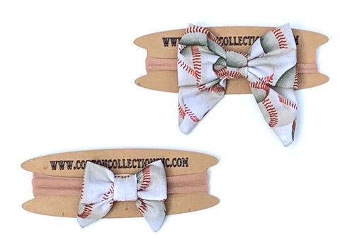 Baseball sailor bow, fabric bow