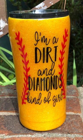 Softball tumbler, dirt and diamonds softball cup, glitter tumbler, softball mom