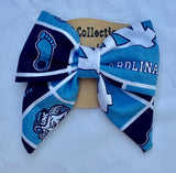 Tar Heel hair bow, UNC Chapel Hill fabric headband