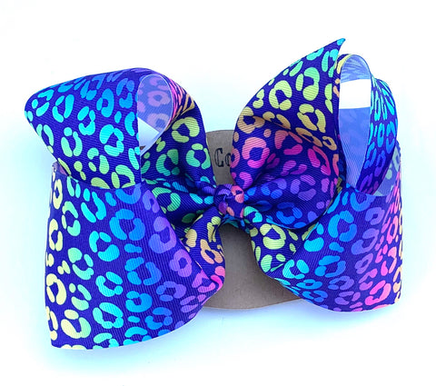 Rainbow Cheetah print bow