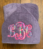 Lilly monogram hooded towel