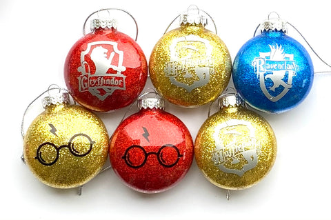 Harry Potter house crest glitter ornament
