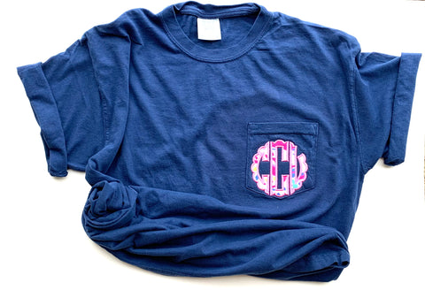 Comfort color short sleeve monogram pocket Tee