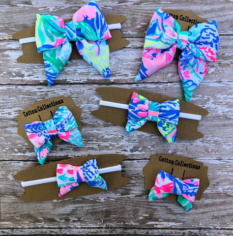 Lilly hair bow, Lilly headband mermaid cove