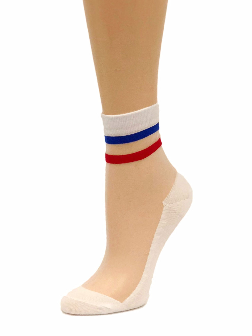 Striped Red Blue Sheer Socks - Global Trendz Fashion®