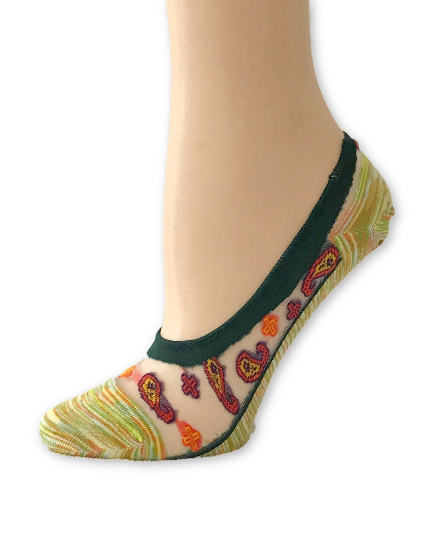 Amber Yellow Patterned Ankle Sheer Socks - Global Trendz Fashion®