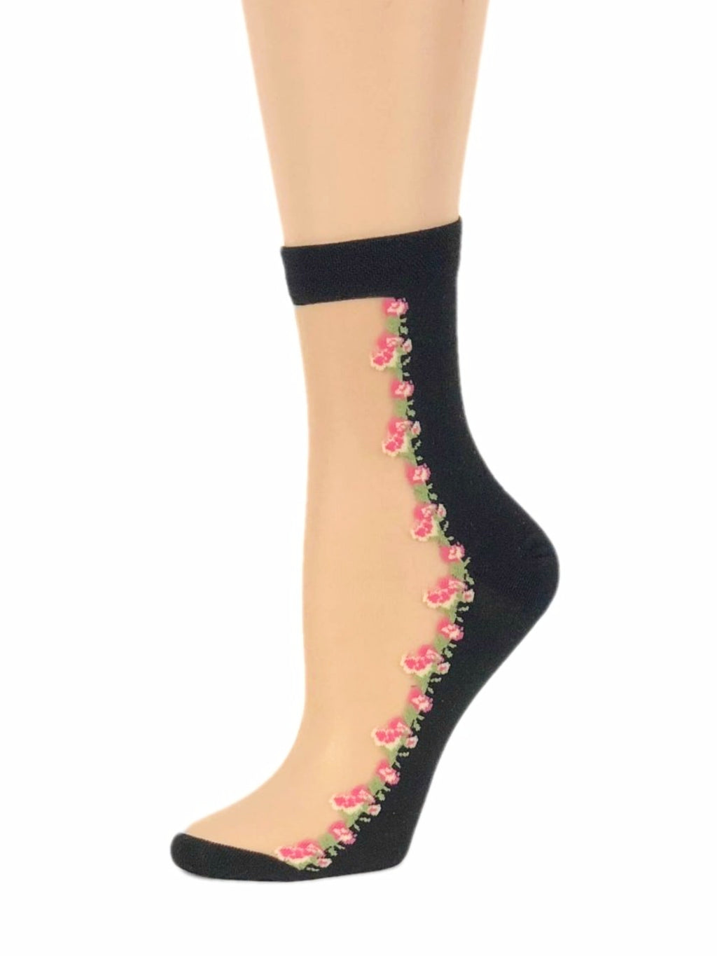 Soft Pink Floral Sheer Socks - Global Trendz Fashion®