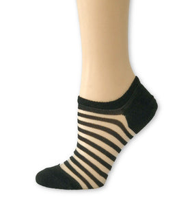 Stripped Black Ankle Sheer Socks - Global Trendz Fashion®