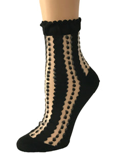 Stripy Dotty Black Sheer Socks - Global Trendz Fashion®