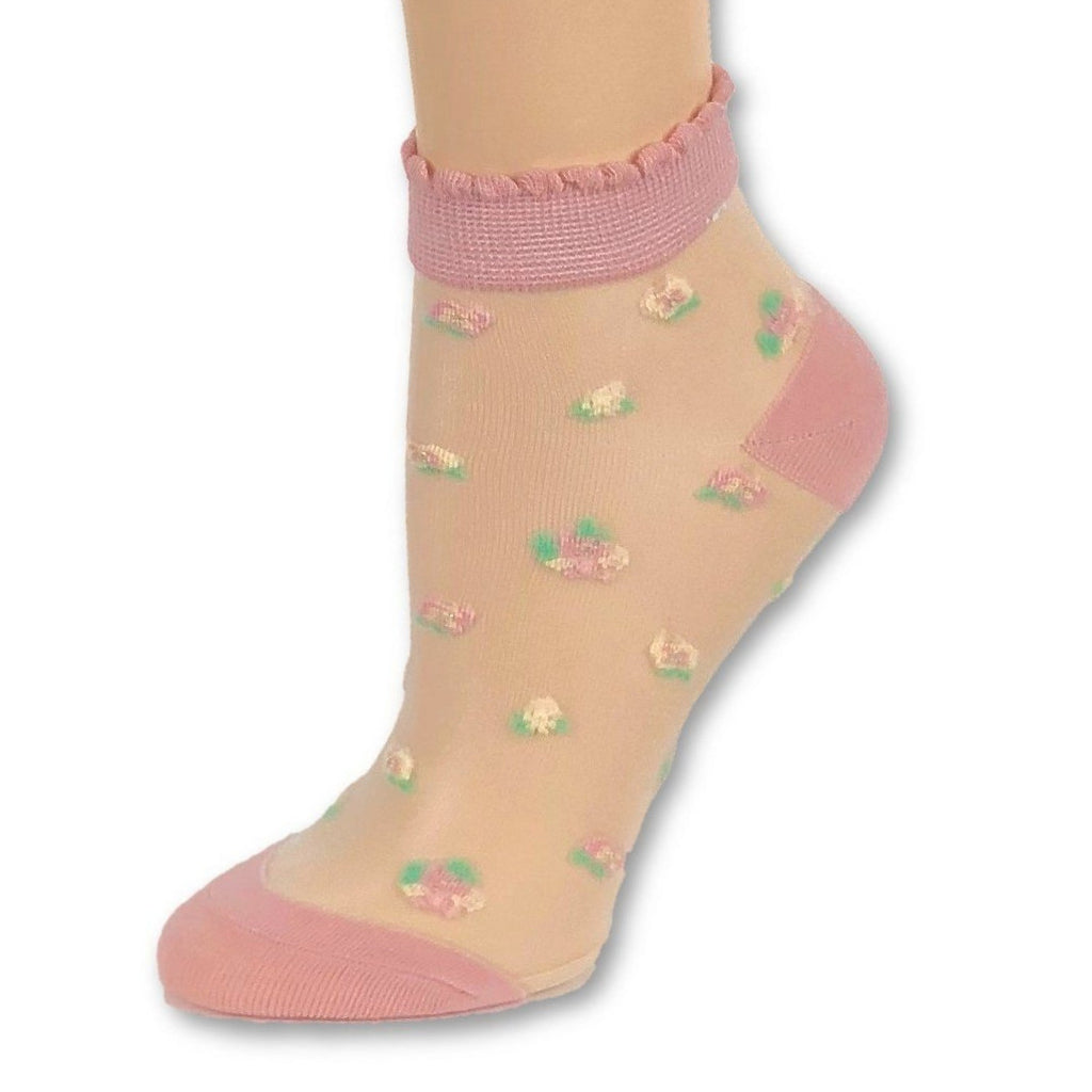 Coral Pink Ankle Sheer Socks - Global Trendz Fashion®