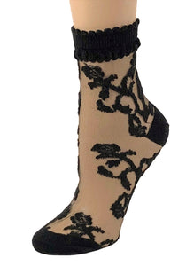 Charming Black Flowers Sheer Socks - Global Trendz Fashion®