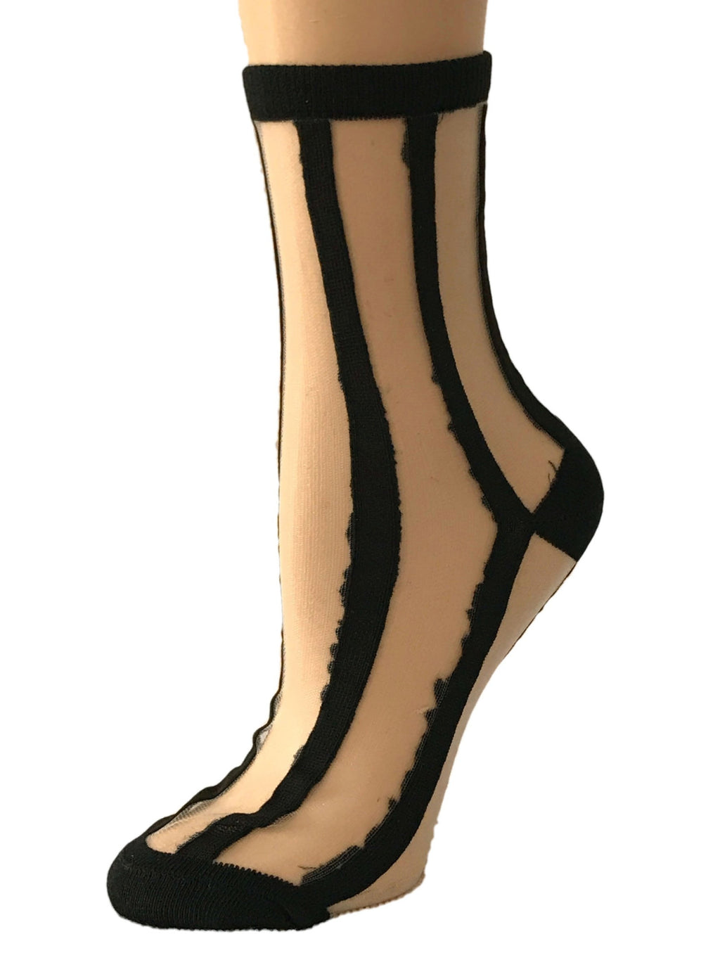 Brunet Black Striped Sheer Socks - Global Trendz Fashion®