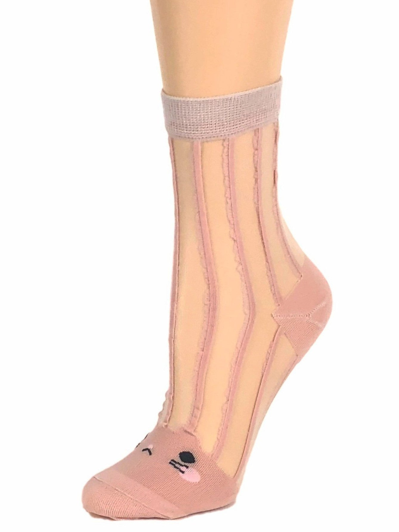 Kitty Tea Pink Sheer Socks-Global Trendz Fashion®
