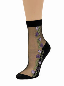 Appealing Purple Flowers Sheer Socks - Global Trendz Fashion®
