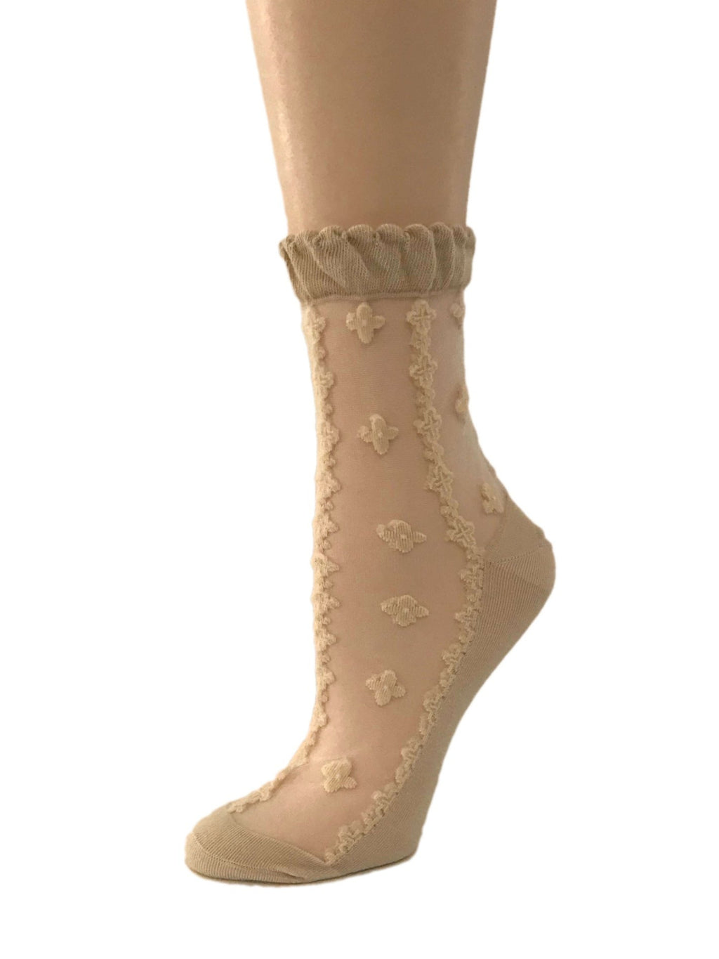 Four Leaf Beige Sheer Socks - Global Trendz Fashion®