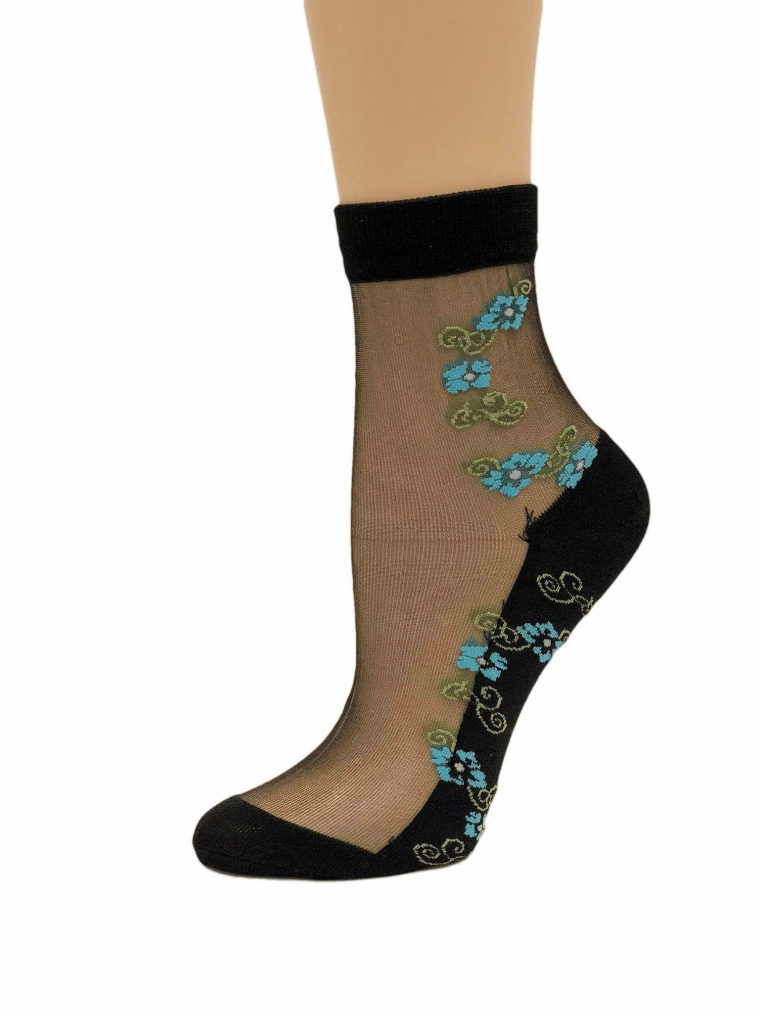 Flashy Mini Turquoise Flowers Sheer Socks - Global Trendz Fashion®