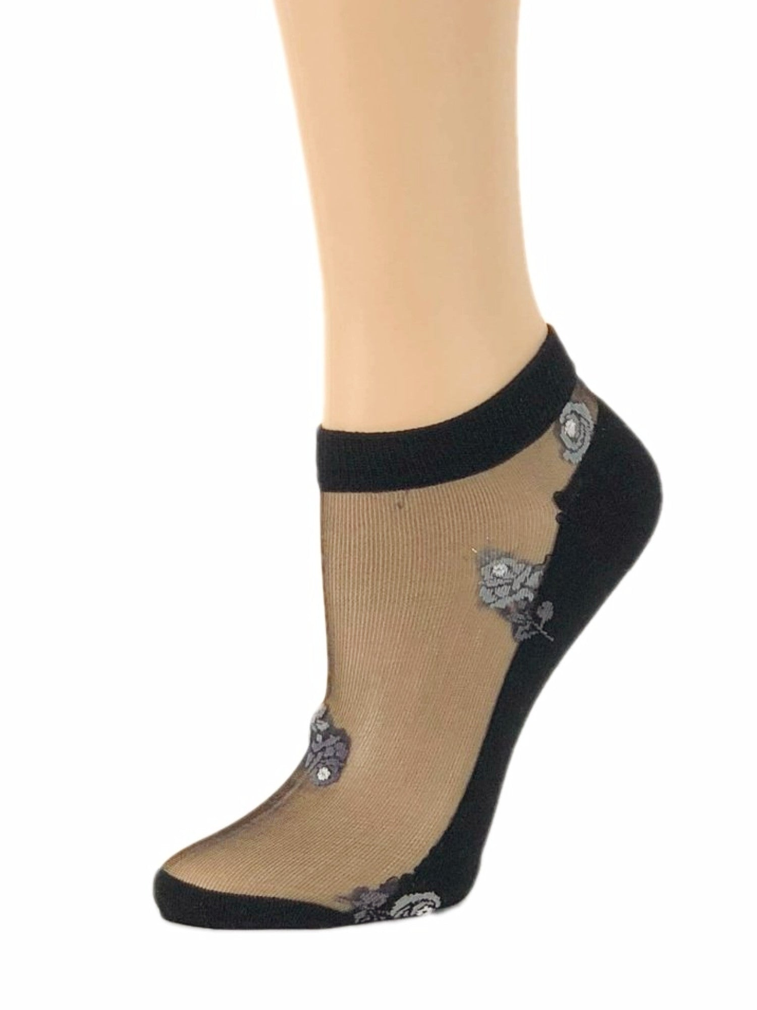 Elegant Brown Flowers Ankle Sheer Socks - Global Trendz Fashion®