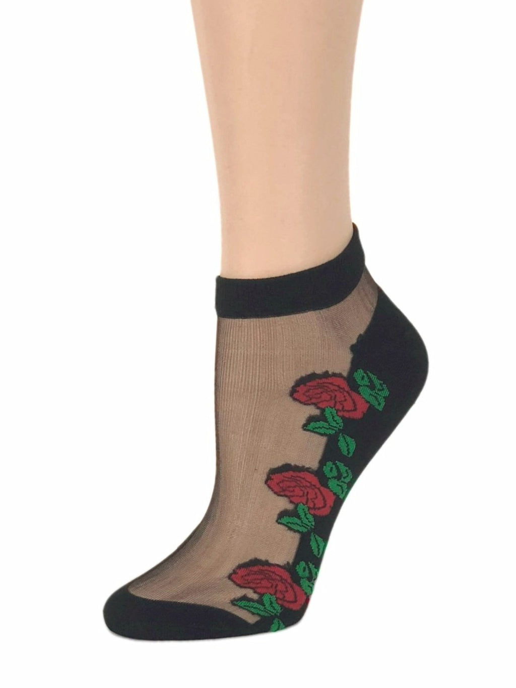 Large Red Roses Sheer Socks - Global Trendz Fashion®