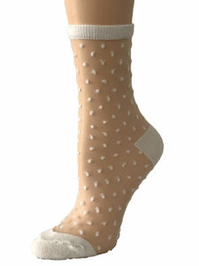 Milky White Dotted Sheer Socks-Global Trendz Fashion®