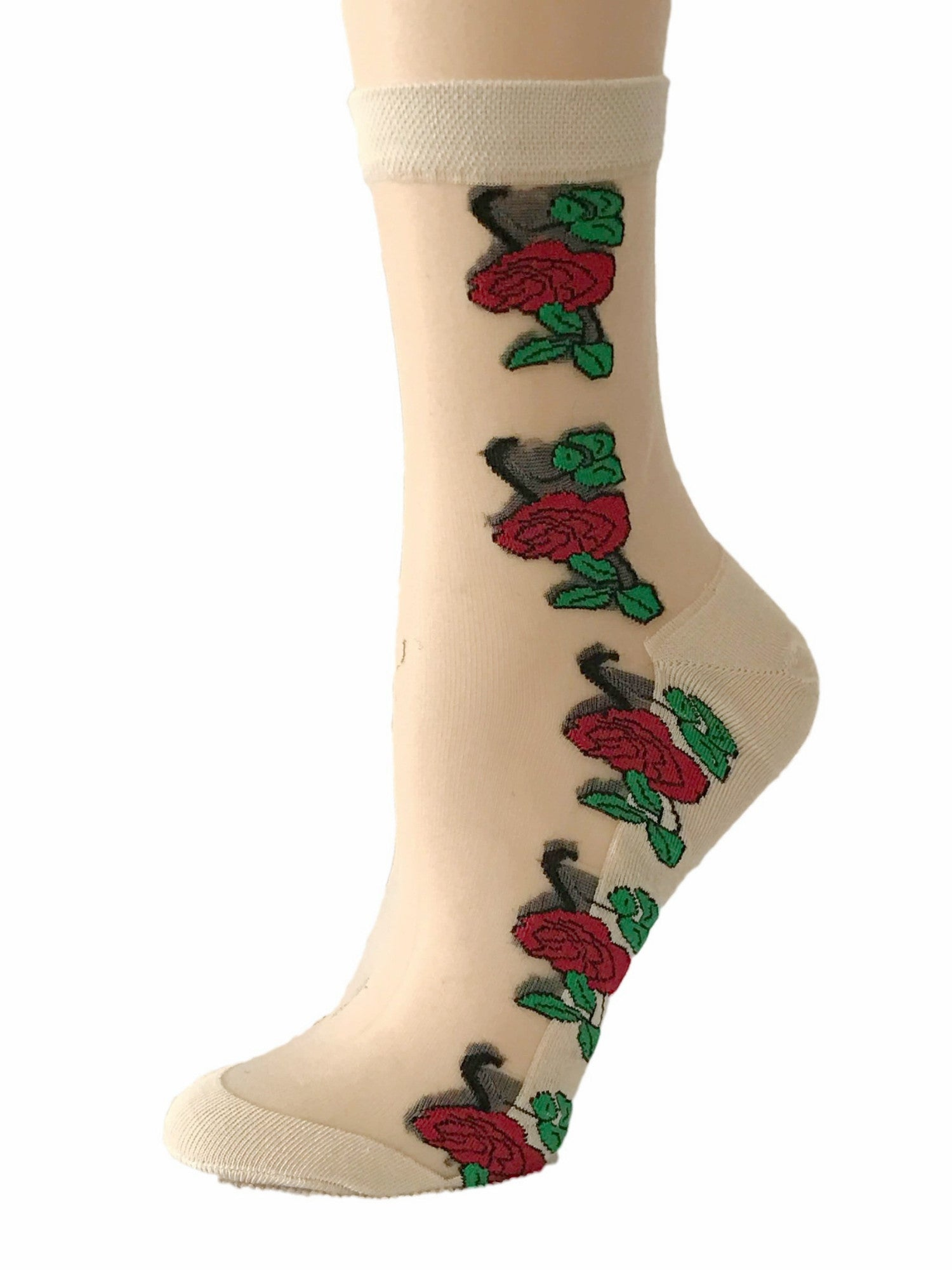 Red Roses Sheer Socks - Global Trendz Fashion®