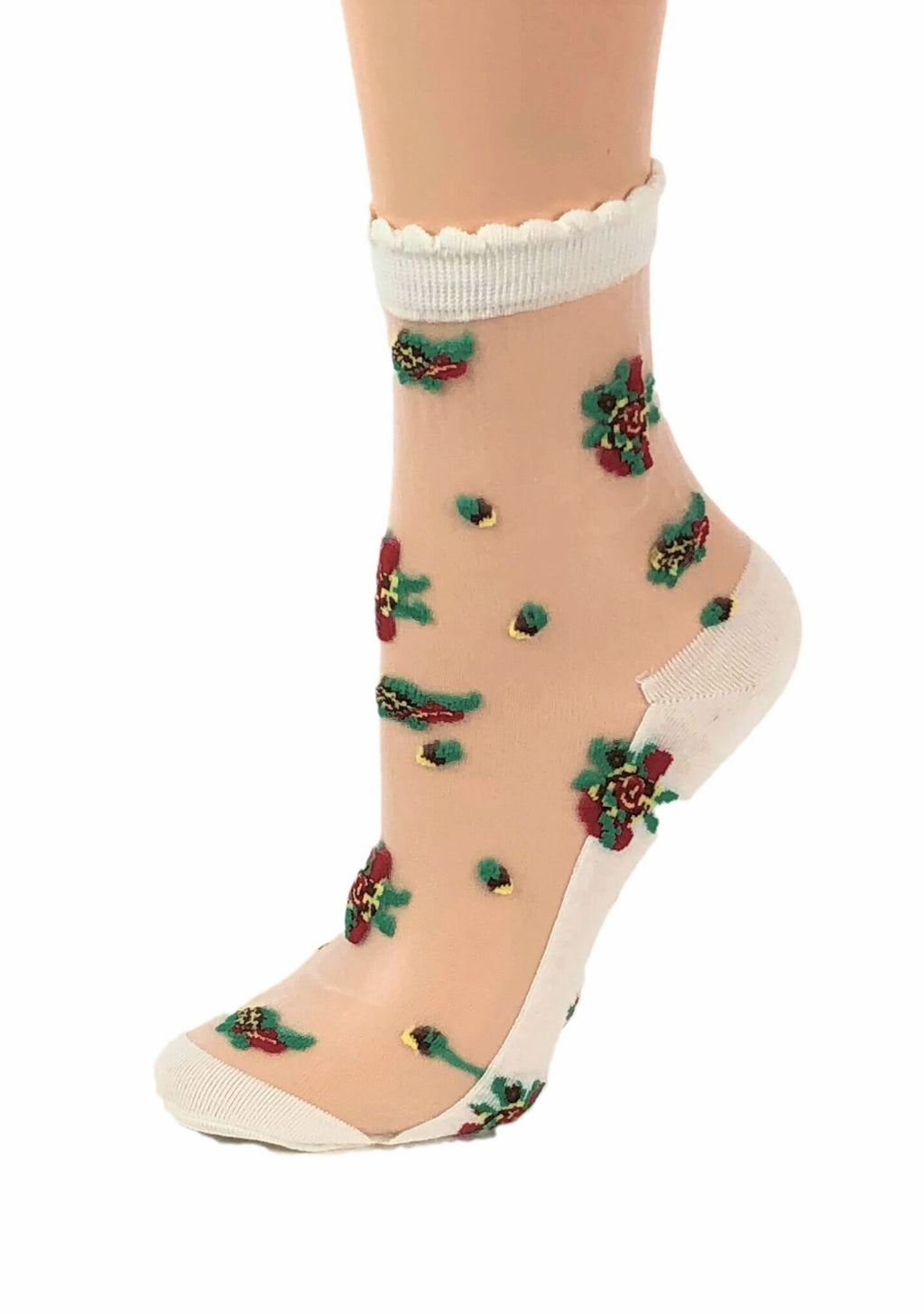 Greenish Red Rose Sheer Socks - Global Trendz Fashion®
