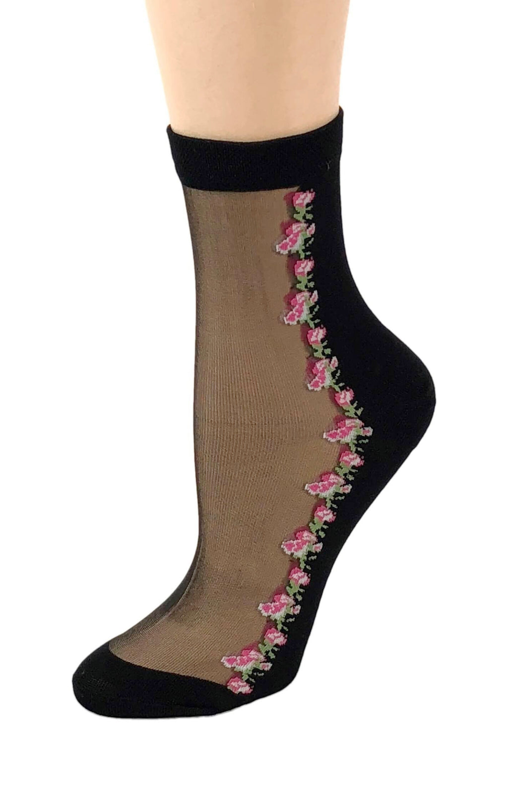 Pink Roses Small Sheer Socks - Global Trendz Fashion®