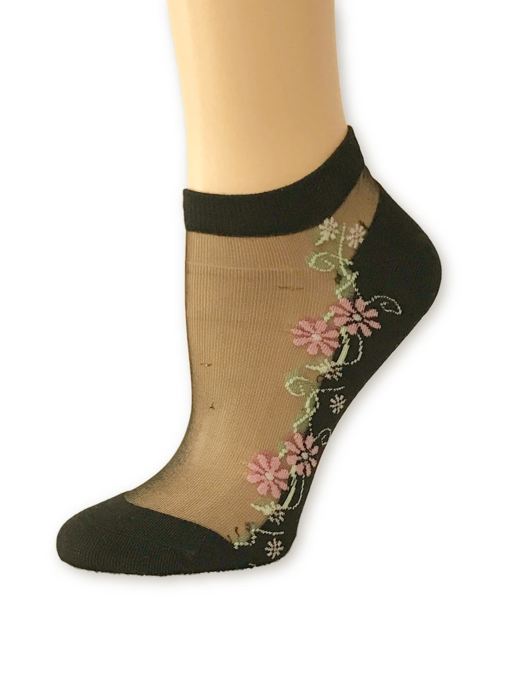 Stunning Pink Flower Ankle Sheer Socks - Global Trendz Fashion®