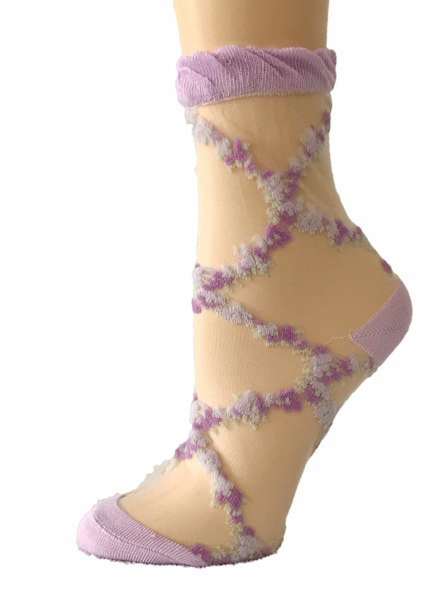 Stunning Purple/Pink Patterned Sheer Socks-Global Trendz Fashion®