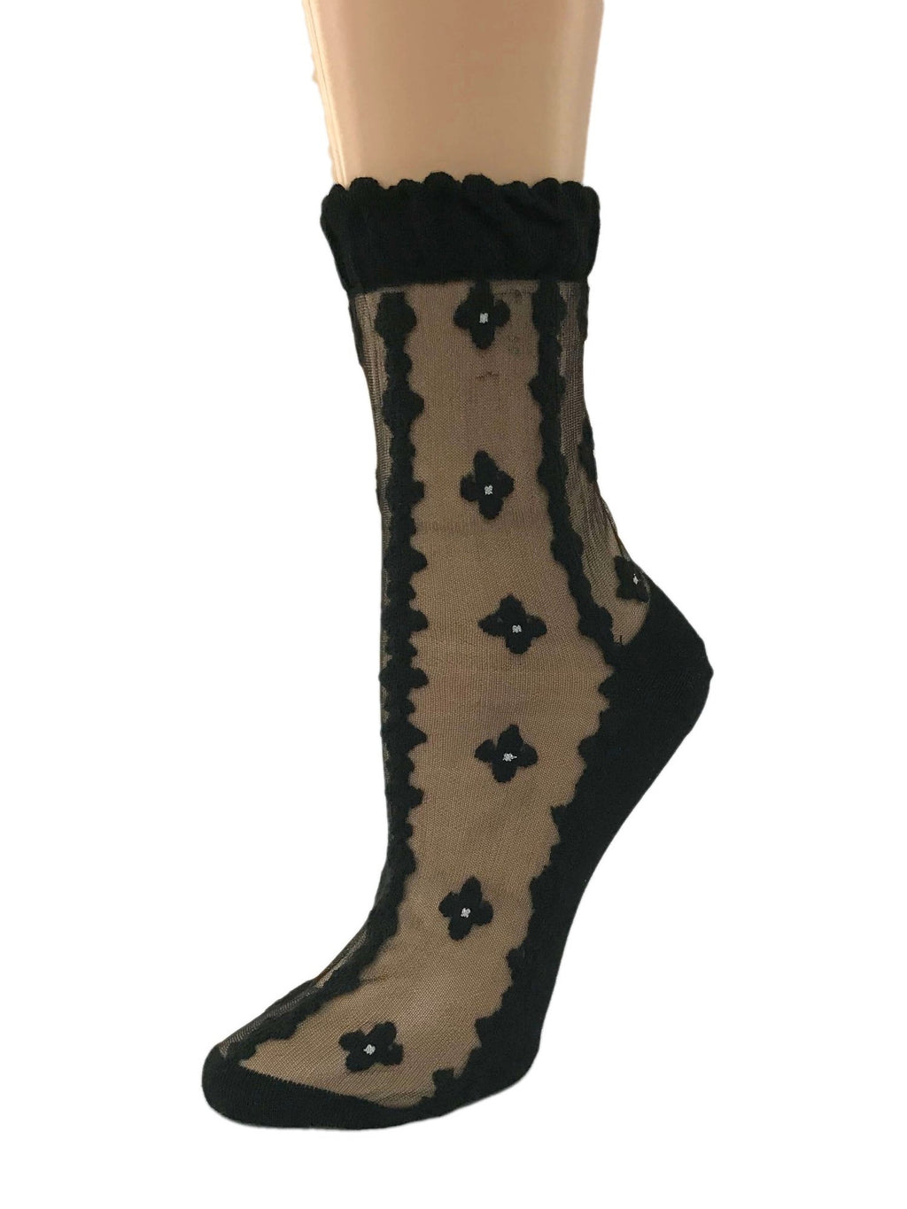 Four Leaf Black Sheer Socks - Global Trendz Fashion®
