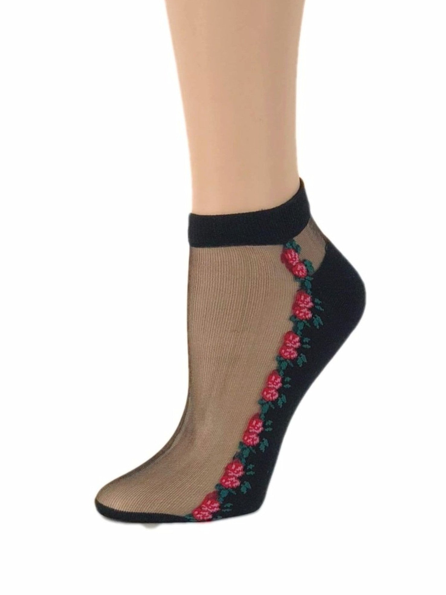 Small Red Roses Ankle Sheer Socks-Global Trendz Fashion®
