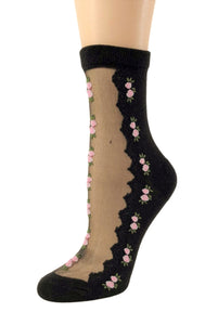 Patterned Pink Flowers Sheer Socks-Global Trendz Fashion®