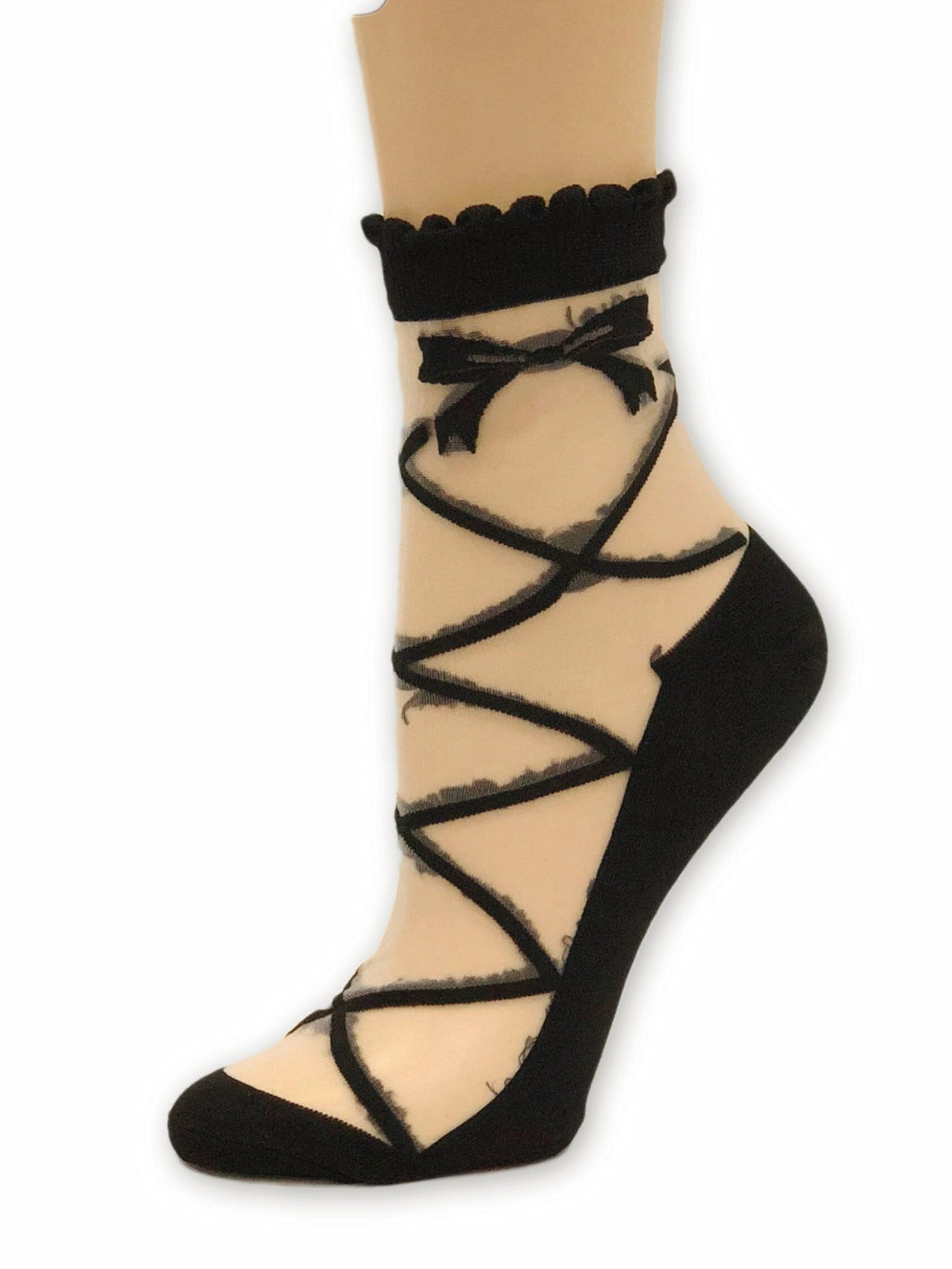 Extra Black Bow Sheer Socks - Global Trendz Fashion®