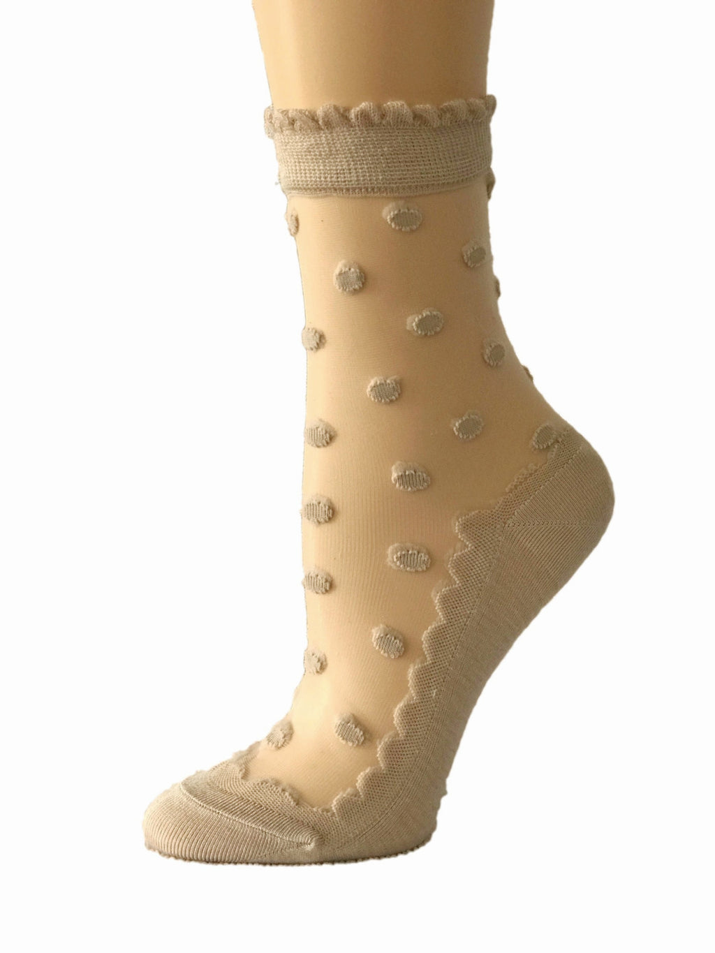 Sleek Dotted Beige Sheer Socks - Global Trendz Fashion®