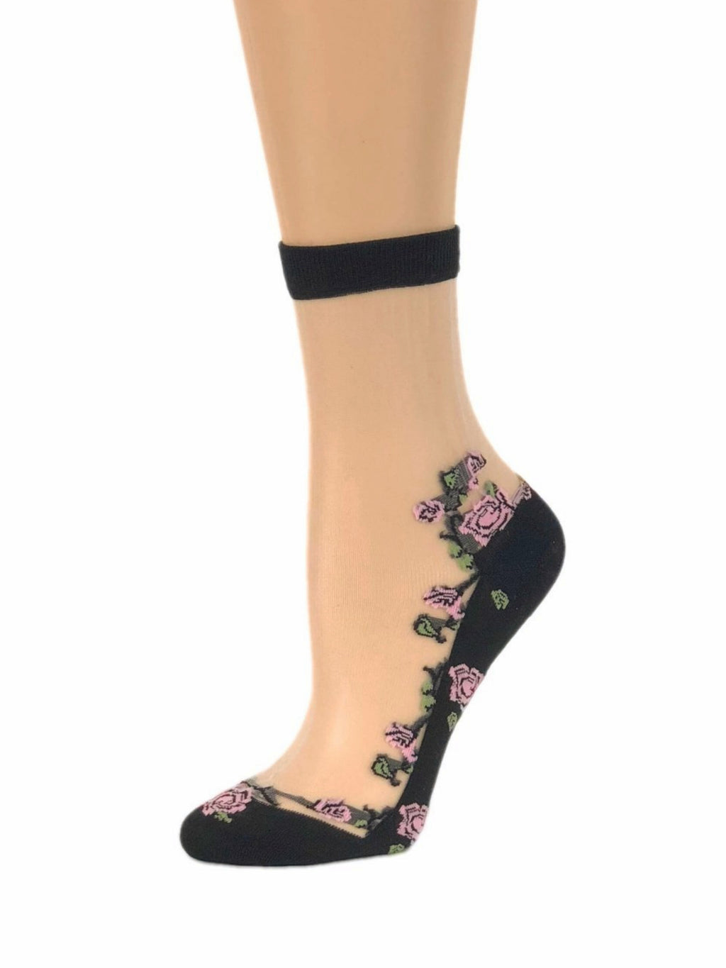 Pink Flowers Bunch Sheer Socks - Global Trendz Fashion®