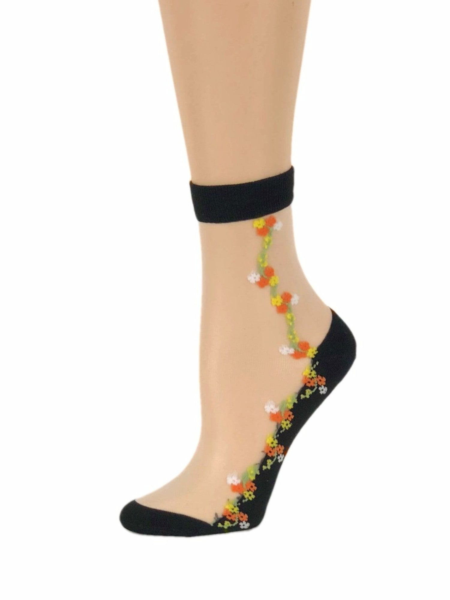 White Orange Flowers Sheer Socks - Global Trendz Fashion®