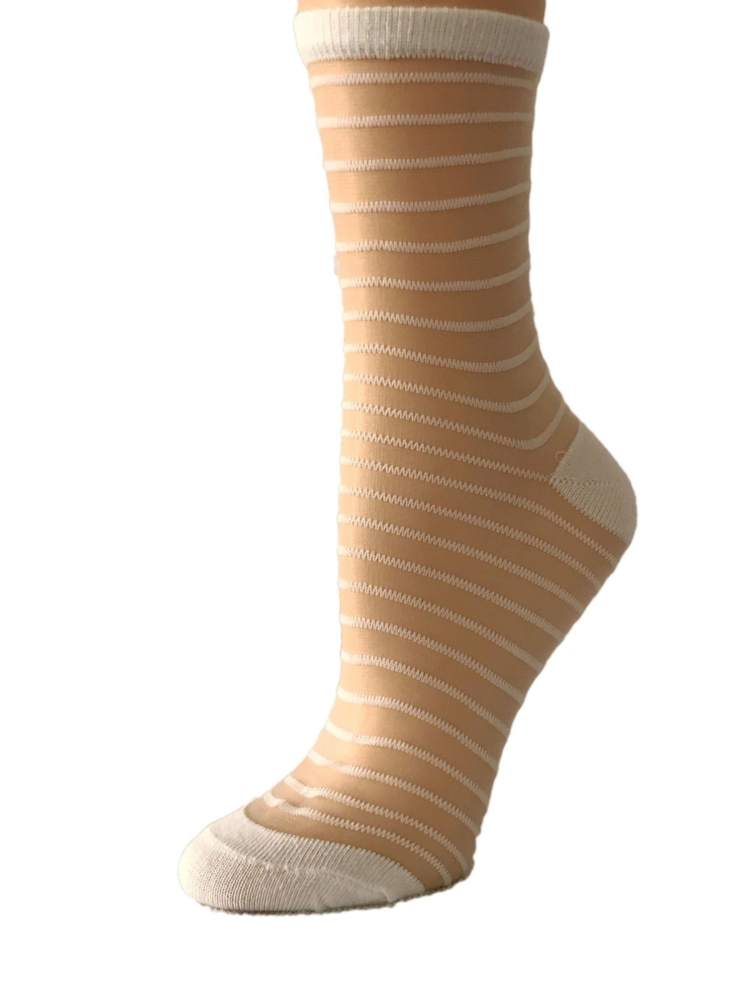 White Striped Sheer Socks-Global Trendz Fashion®